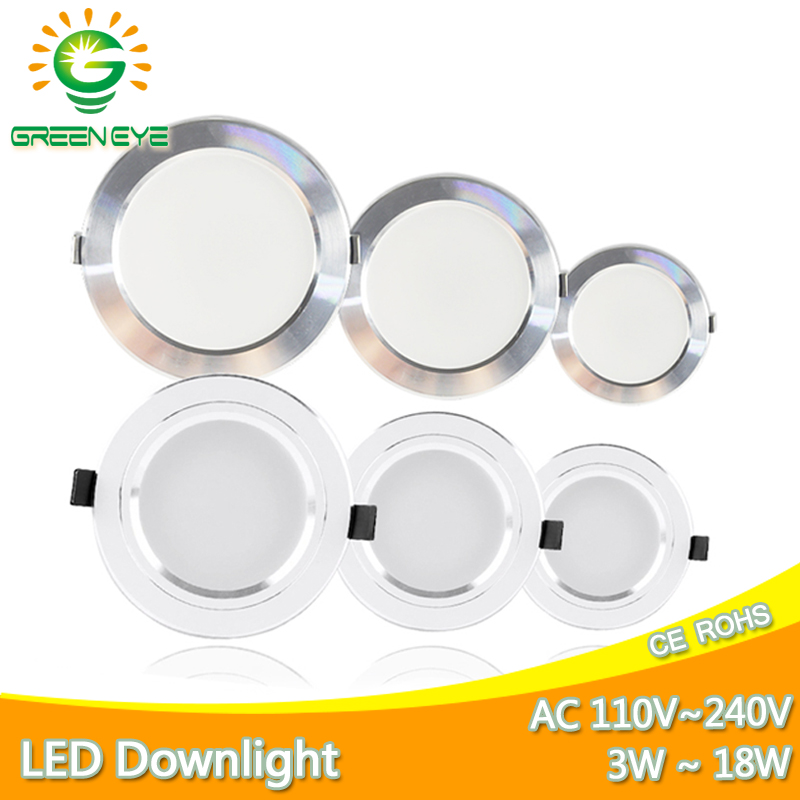 Led Downlight 3W 5W 9W 12W 15W 18W Downlight Silver White Ultra Thin Aluminum Shell AC110V 220V Round Recessed LED Spot Lighting