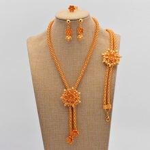 Нигерийская Свадьба золотой набор украшений для женщин шикарный