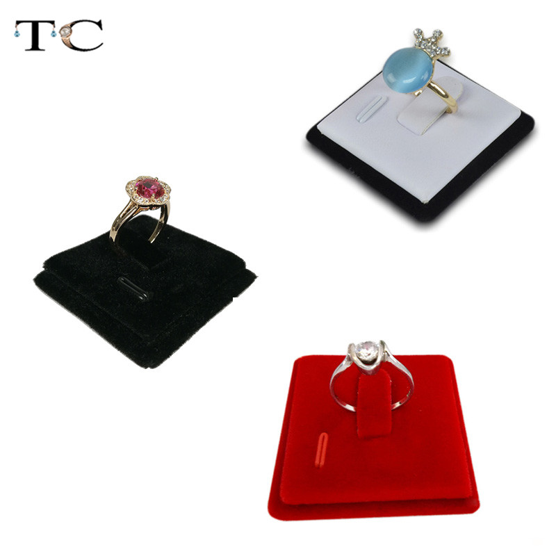Ring Display Stand Card Jewelry Display Black/White/Red Velvet Ring Holder Rack Mini Jewelry Display Rings Card