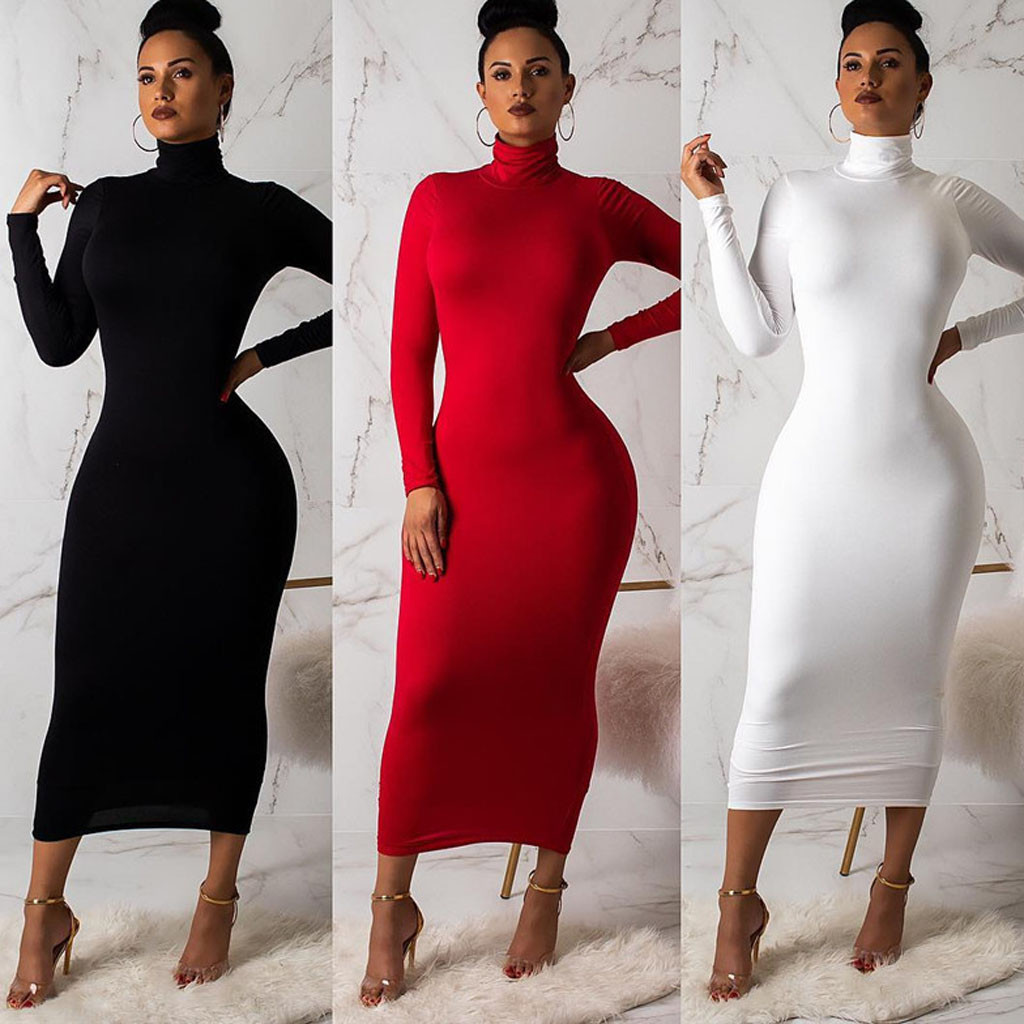 Sexy women nightclub solid color bandage Bodycon dresses Turtle Neck Stretch Long sleeve tight hip package pencil dress Vestidos