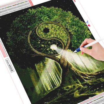 HUACAN Full Drill Square 5D DIY Diamond Painting Tree Diamond Embroidery Landscape Tai Chi Picture