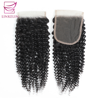 LINKELIN HAIR Kinky Curly Closure 4*4 Free/Three/Middle Part Remy Human Hair Bundles 8-20 inch Swiss Lace Closure Nature Color цена 2017