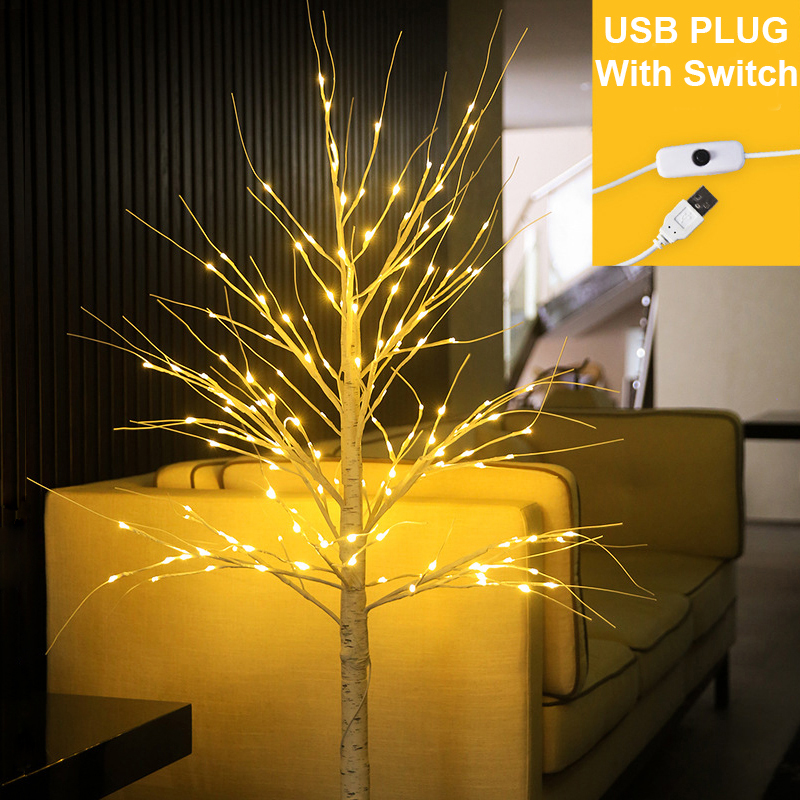 90 см Высота светодиодный принтом в виде березовых деревьев светильник 60 светодиодный s USB работает с переключателем светодиодный ландшафтн...