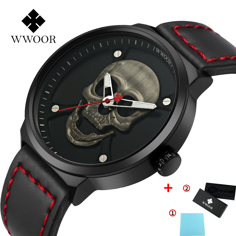 Mans watch hot sale Sports WWOOR New Skull watch for men Luxury Leather Quartz mens watches Waterproof Military Wrist Watch