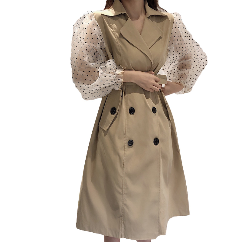 Patchwork Polka Dot Lantern Sleeve   Trench   Coat Female High Waist Lace Up Women's Windbreaker Autumn Fashion 2019