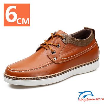 Męskie skórzane buty buty na koturnie buty podnoszące wysokość buty męskie wyższe buty trampki buty na wysokim obcasie skórzane buty tanie i dobre opinie HOMASS Mikrofibra CN (pochodzenie) Na wiosnę jesień Stałe Dla osób dorosłych oddychająca NONE RUBBER Buty casualowe