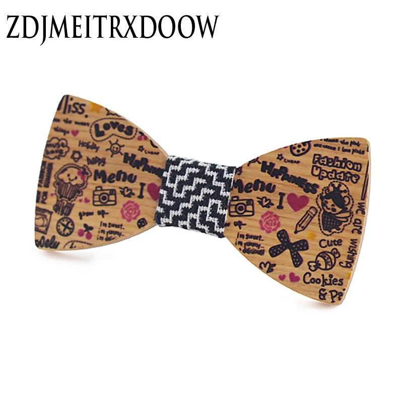 Cartoon Children's Printed Wooden Bow Tie English Wind Boy Baby Wooden Collar Knot Performance Child Baby Bow Tie