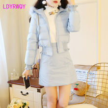 2019 autumn and winter new hooded large fur collar coat + short skirt two-piece cotton suit Zipper Fly  Regular  Turn-down