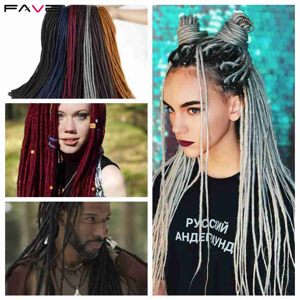 FAVE Crochet Twist Braiding Dreadlocks Extensions Light/Dark Brown /Yellow/Red/Blue/Gray Synthetic Hair For Men/ Women 22 Inch L