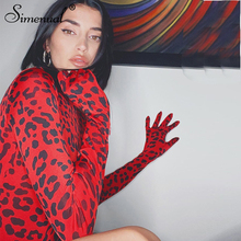 Simenual Red Leopard Sexy Women Bodysuit With Gloves Long Sleeve Fashion 2019 Au