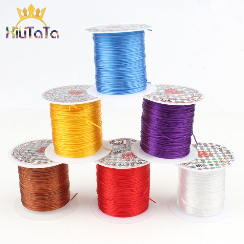 0.8mm 1 Roll Strong Stretchy Elastic Beading Wire Cord String Thread Eight Colors Crystal Cord For Jewelry Making Bracelet Charm