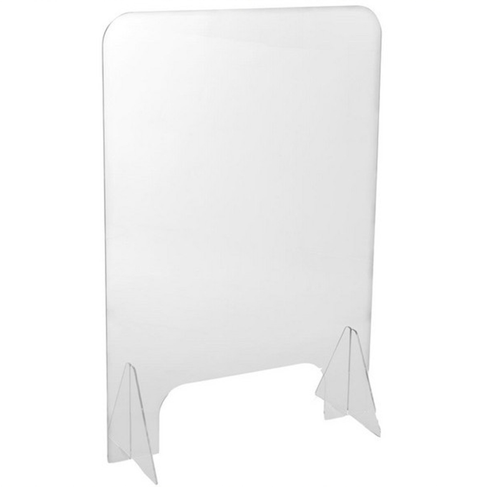 Acrylic Counter Protective Sneeze Guard Clear Spit Shiled With Stand