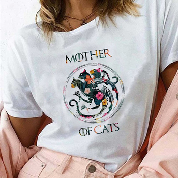 Mother of Cats T Shirt for Women Graphic Print Flowers Dracarys Dragon T-shirt Harajuku Graphic Tees Vogue Aesthetic Gothic Tops t c boyle unlucky mother of aquiles maldonado