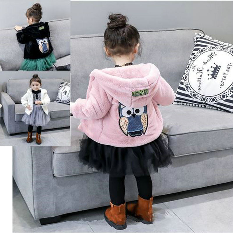 Childrenswear GIRL'S Coat Fluffy Faux Fur Thick Tops 20 Winter New Style 3-8-Year-Old