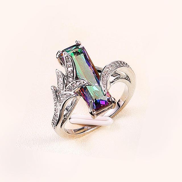 Huitan Multicolored Rectangular Stone Ring/Necklace Set