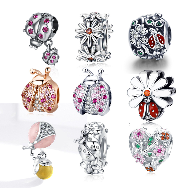 2020 New Arrival Authentic 925 Sterling Silver Ladybug Charm Beads Fit Original 3mm Bracelet Beads DIY Jewelry Making
