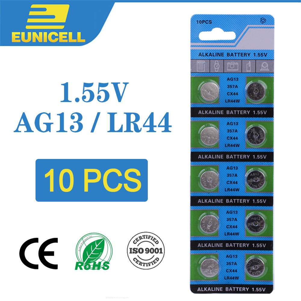 Eunicell 10pcs Alkaline Cell Coin Battery 1.55V AG13 LR44 Button Batteries LR1154 SR44 A76 357A 303 357 AG 13 For Watch Toys