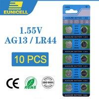 Eunicell bateria de célula alcalina  10 peças de baterias de botão 1.55v ag13 lr44 lr1154 sr44 a76 357a 303 357 ag 13 para brinquedos de relógio