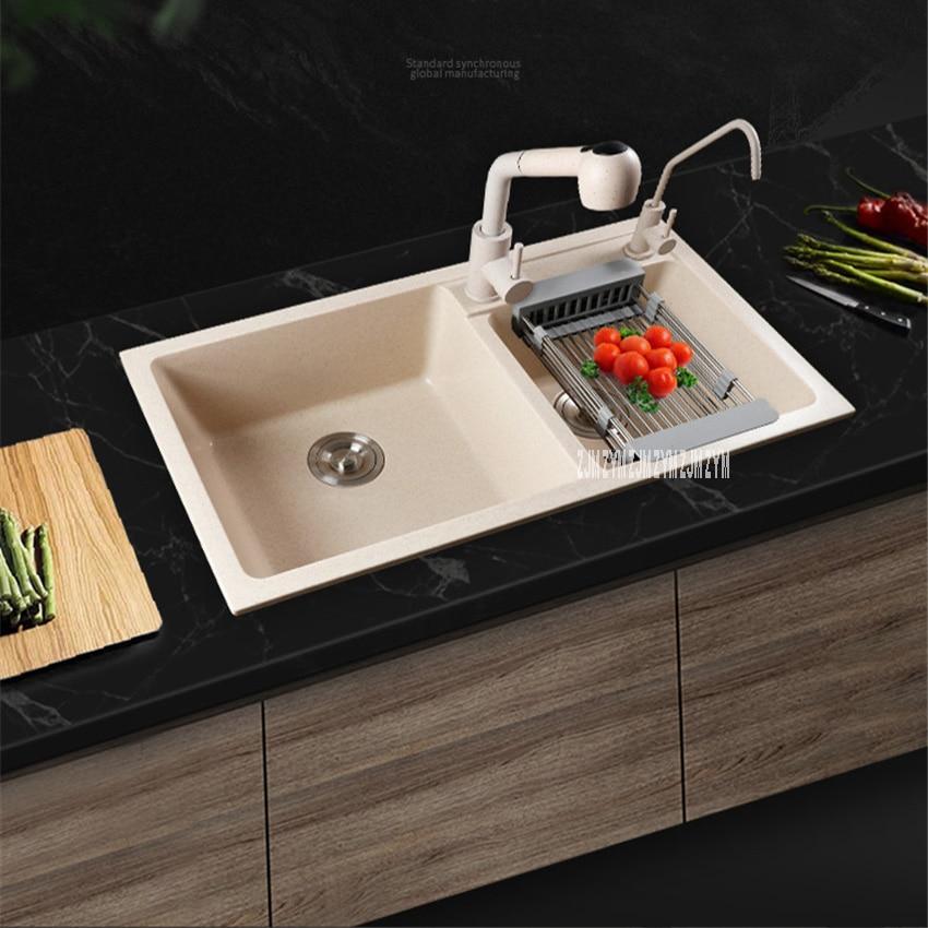 Multifunctional Household Thickening Kitchen Quartz Sink Dual Slot Matte Finish Round Corner Vegetable Washing Basin With Faucet