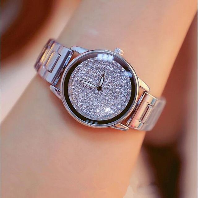New Luxury Women Watches Austrian crystal Lady Dress Watch Stainless Steel Rhinestone Silver Gold Bracelet diamond Wristwatches