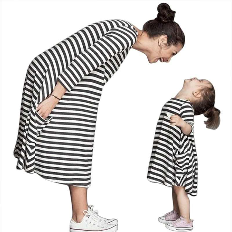 Mother Daughter Stripe Girls Dress Clothes Parent-child Dress Family Matching Outfits Cotton White Red Striped Dresses