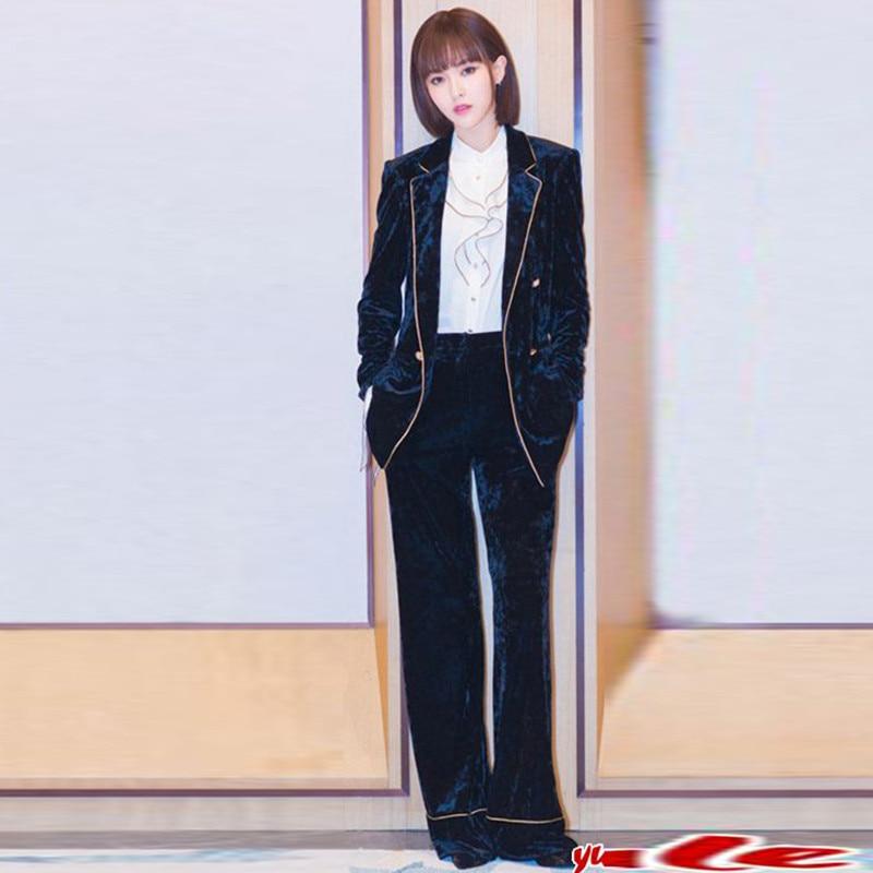 Set Women's Fashion Temperament Gold Silk Striped Velvet Suit Jacket + Micro-horn Trousers Gold Velvet Professional Suit New
