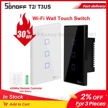 Itead SONOFF TX T2 T3 US standardowy bezprzewodowy Wifi światła inteligentny przełącznik ekranu dotykowego szkła APP głos RF pilot zdalnego sterowania 1 2 3 Gang tanie i dobre opinie SONOFF T2 T3 US Gotowa do działania 2 KANAŁY SONOFF T2 T3 US Wifi Switch SONOFF T2 T3 US Wall Light Switch White Black