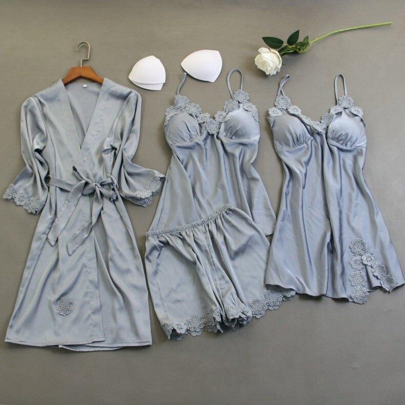 2020 Women Silk Pajamas Sets With Chest Pads Ladies Print Pijama Sleepwear Lounge Sets 4 Pieces Spaghetti Strap Satin Pyjamas