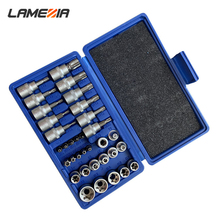 LAMEZIA 10/34 pcs/set Chromium-vanadium Steel Pressure Sleeve Group SleeveHead Automobile Mechanic Service Tool Accessories