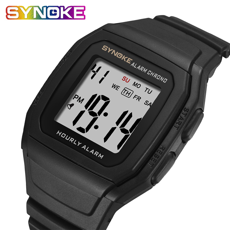 SYNOKE Men's Watches Relogio Masculino Multi Functional Sports Electronic Watch Men Waterproof Women Square Brand Luxury Band