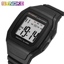 SYNOKE męskie zegarki Relogio Masculino wielofunkcyjna sportowy zegarek elektroniczny mężczyźni wodoodporne kobiety kwadratowy luksusowy pasek marki tanie tanio 24 5cminch Cyfrowy Z tworzywa sztucznego Klamra 3Bar Moda casual 40 1mmmm 13 4mmmm Akrylowe Odporny na wstrząsy Repeater
