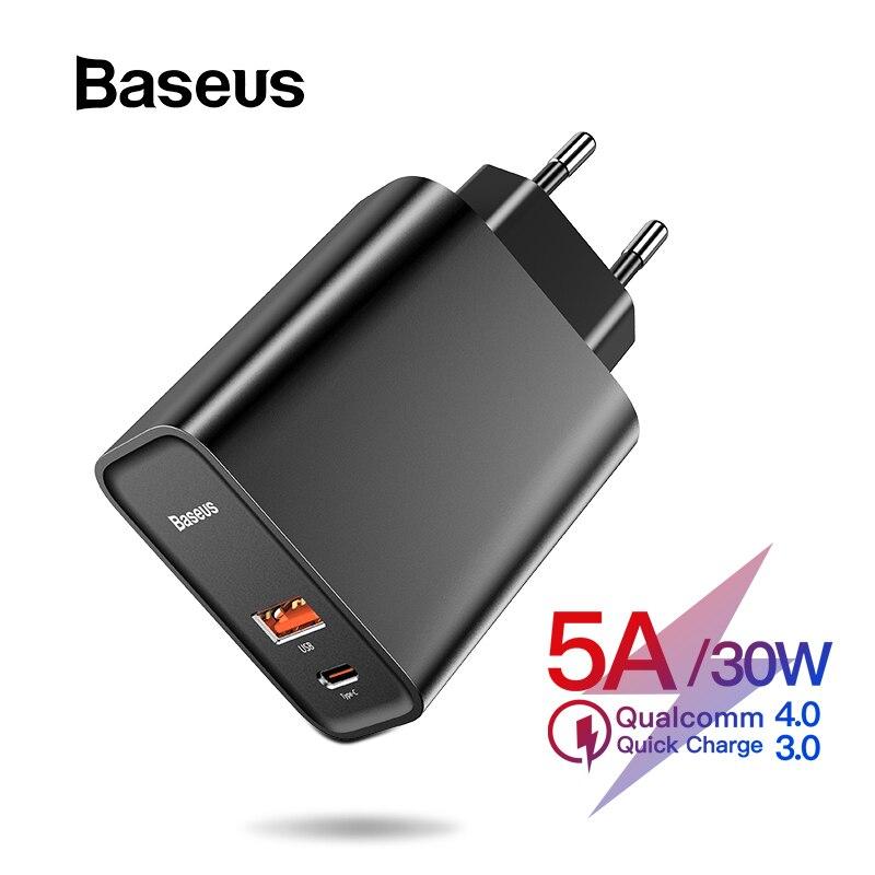 Baseus carga rápida 4.0 3.0 carregador usb para redmi nota 7 pro 30 w pd supercharge rápido carregador de telefone para huawei p30 iphone 11 pro