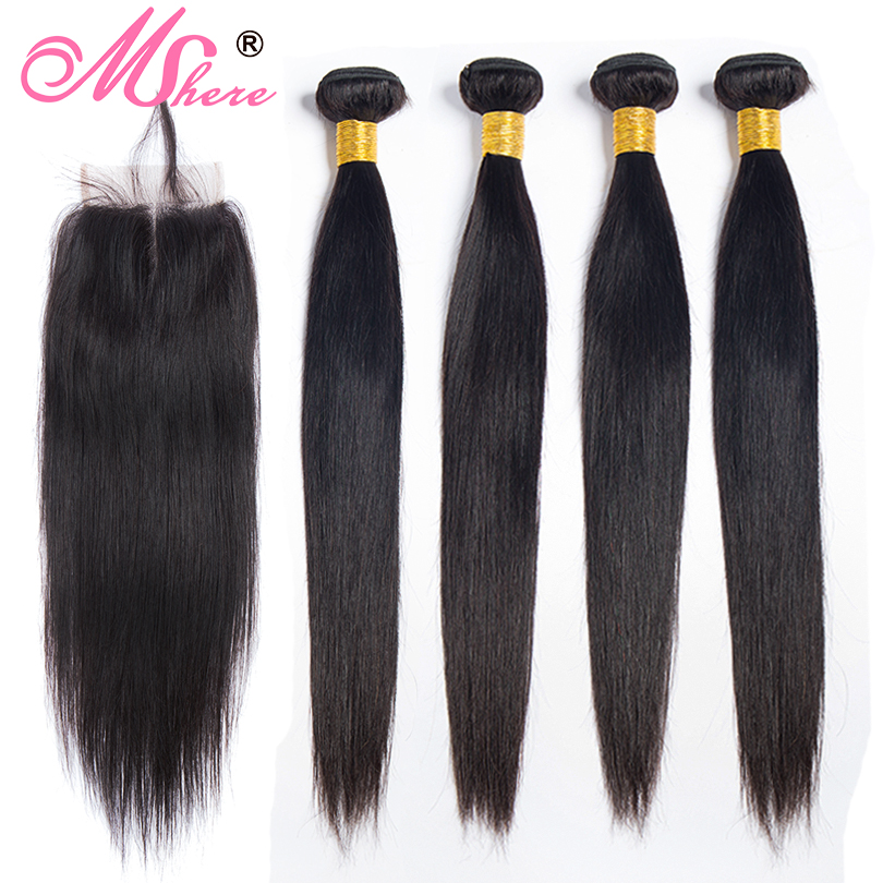 Brazilian Straight Hair Bundles With Lace Closure 3/4 Bundles With Closure Mshere Non Remy Human Hair Bundles With Closure