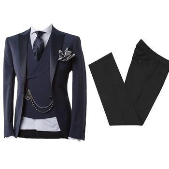 Biznes nowoczesne mężczyźni garnitur z spodnie Slim Fit garnitury ślubne dla mężczyzn Prom oficjalny smoking kostium Homme 2 sztuka (kurtka + kamizelka) tanie i dobre opinie KapokBanyan COTTON Poliester Z wełny Groom wear REGULAR Mieszkanie Zipper fly Pojedyncze piersi 2006 Skośnym