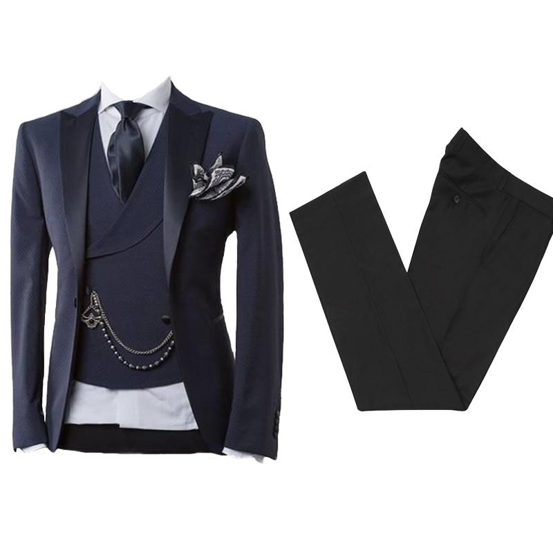 Business Modern Men Suit With Pants Slim Fit Wedding Suits For Men Prom Formal Tuxedo Costume Homme 2 Piece ( Jacket+Vest)