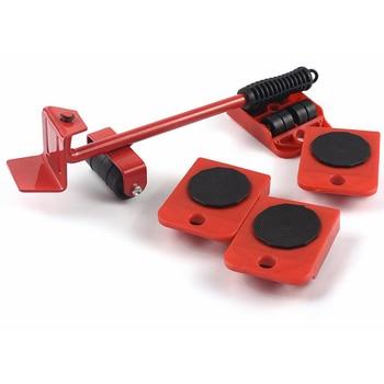 5Pcs Professional Furniture Transport Lifter Tool Set Heavy Stuffs Moving Hand Tools Set Wheel Bar Mover Device