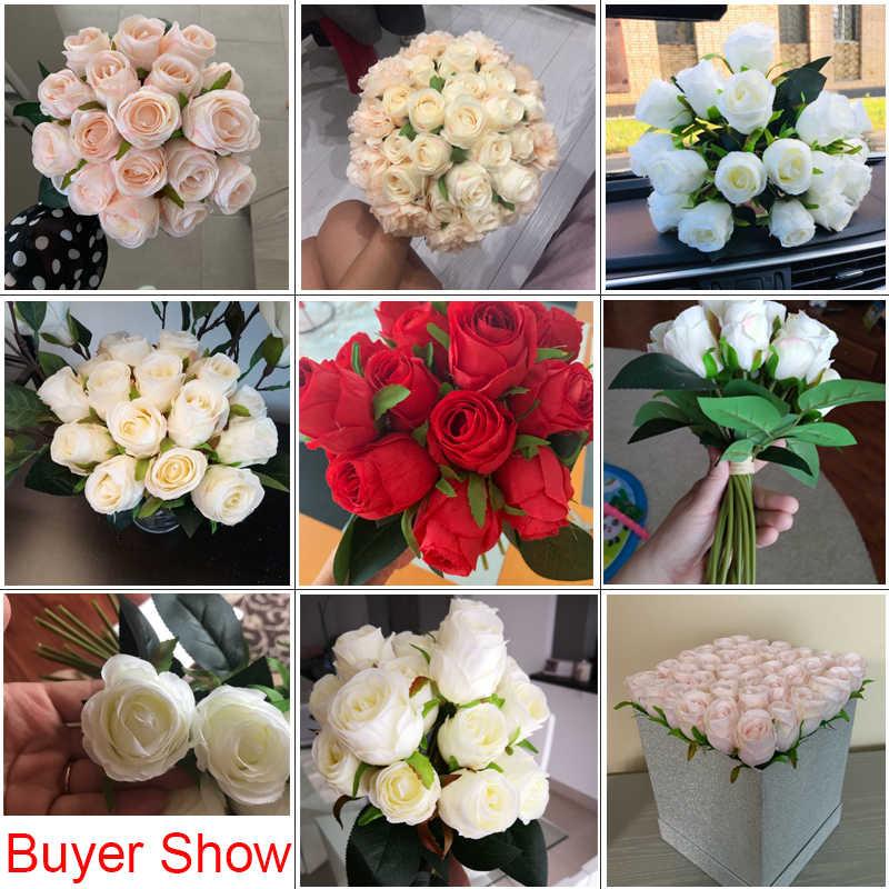 18 pz/lotto Artificiali Fiori di Rosa di Seta Del Fiore della Rosa per la Casa Della Decorazione Del Partito di Falsificazione di Fiori Da Sposa Bouquet di Fiori Di Natale