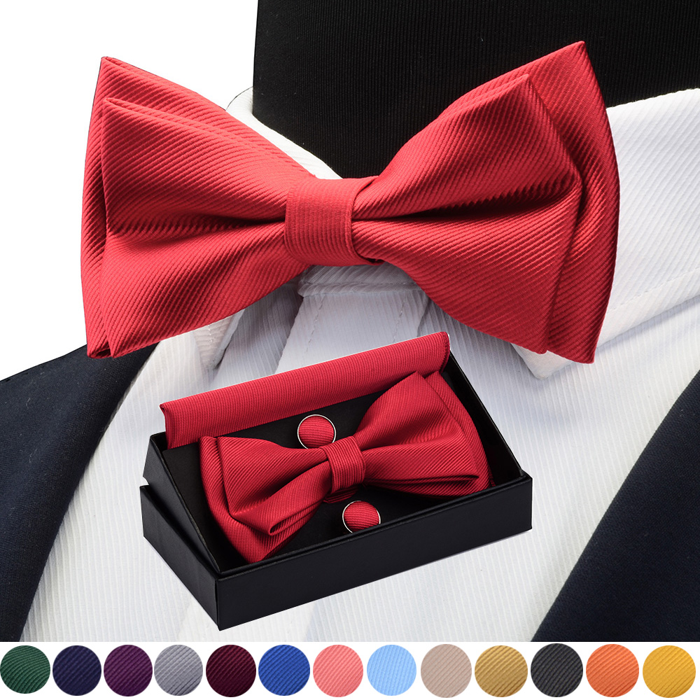 GUSLESON Quality Bowties For Wedding Mens Solid Color Two Layer Pre-tied Bow Tie And Pocket Square Cufflinks Set With Gift Box