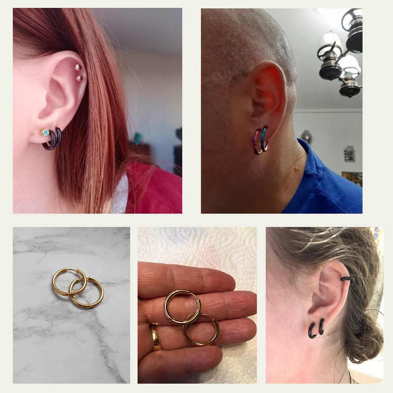 LUXUSTEEL חישוק עגילי נשים זהב/רוז זהב/שחור צבע עגול מעגל עגיל טבעת אוזן קליפ עגילי aretes Mujer aros