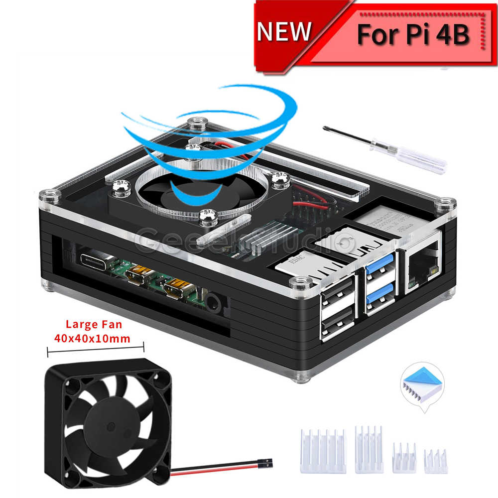 Acrylic Plastic Black Case with Large Size Cooling Fan 4010 for Rasberry Pi 4B (4 Model B) (Not Include)