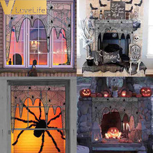 105x107cm Black Lace Halloween Spiderweb Fireplace Decoratio