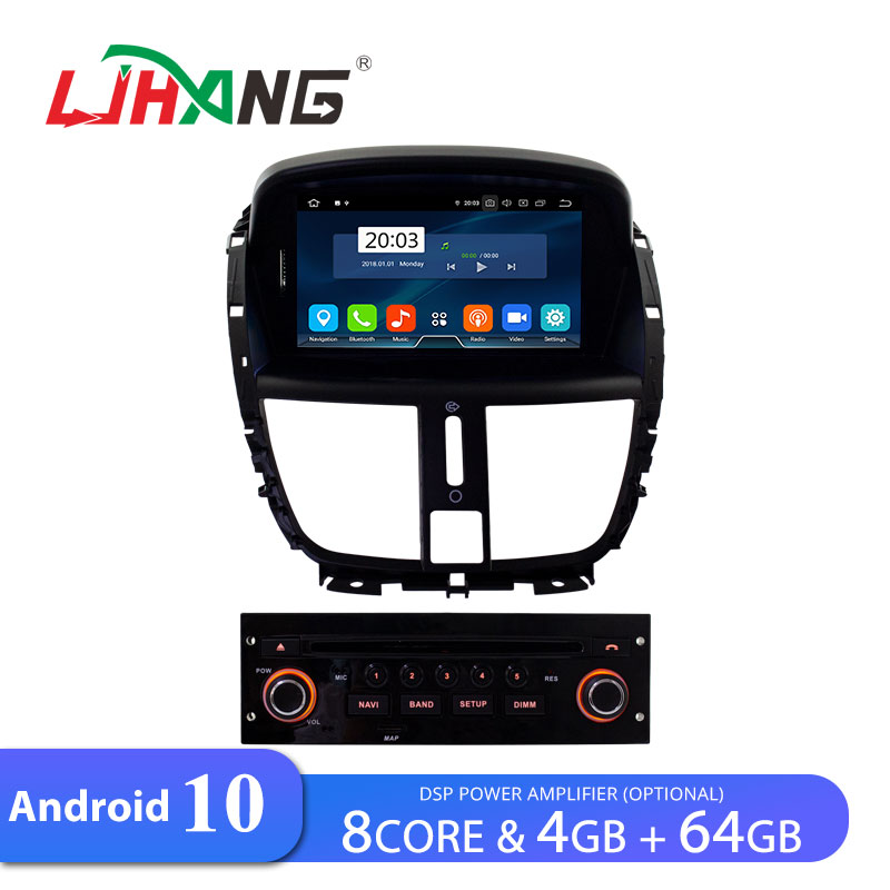 LJHANG Car DVD Multimedia Player Android 10 For Peugeot 207 2007-2014 GPS Navigation 1 Din Car Radio Stereo WIFI RAM 4GB + 64GB image