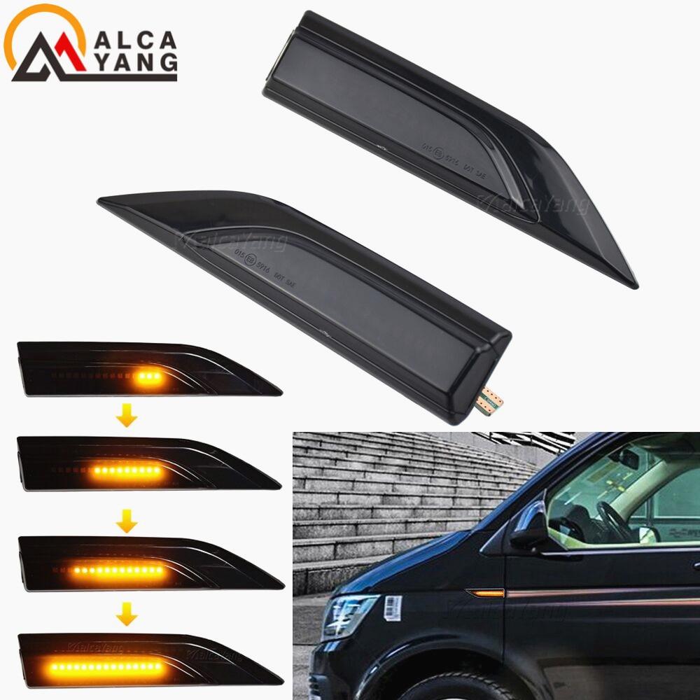 Luz intermitente dinámica para coche VW, indicador lateral de señal de giro para Multivan Caddy MK4, lámpara LED secuencial, para modelo Transporter T5 T6, por 2 uds.