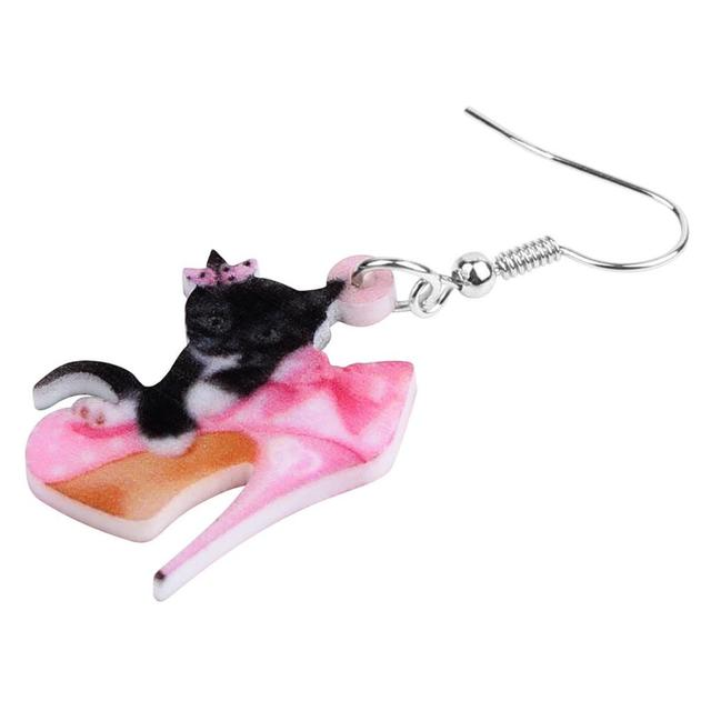 Bonsny Acrylic Valentine s Day High Heels Black Cat Earrings Drop Dangle Jewelry For Women Girls.jpg 640x640 - Bonsny Acrylic Valentine's Day High Heels Black Cat Earrings Drop Dangle Jewelry For Women Girls Teen Lover Charm Gift Accessory