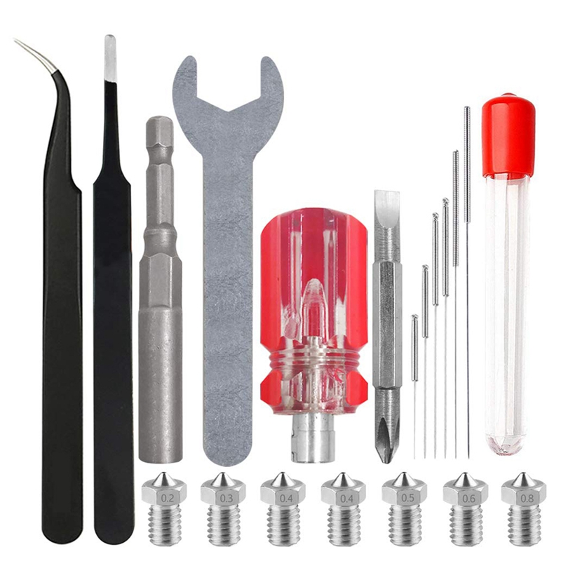 3D Printer Nozzle Kit And Cleaning Kit With Wrench And Screwdriver Tweezers For Anet A8,Creality CR-10,Copier,3D Printer Nozzle