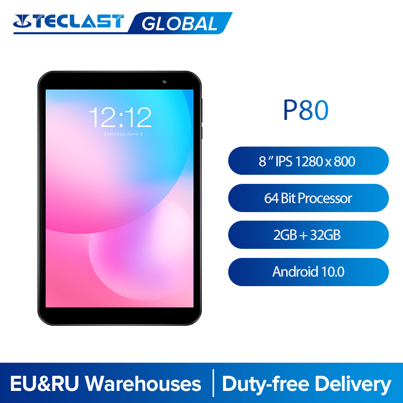 Teclast P80 8'' IPS 1280x800 Tablet Android 10. 0 OS Allwinner A133 CPU GE8300 GPU 2GB RAM 32GB ROM Dual Wifi Type-C Tablet PC