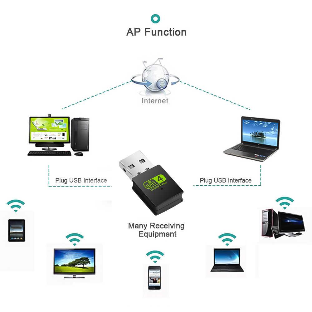 300Mbps USB واي فاي محول سائق حر اللاسلكية واي فاي محول بطاقة الشبكة 2.4G Lan USB إيثرنت PC Wifi دونغل محول