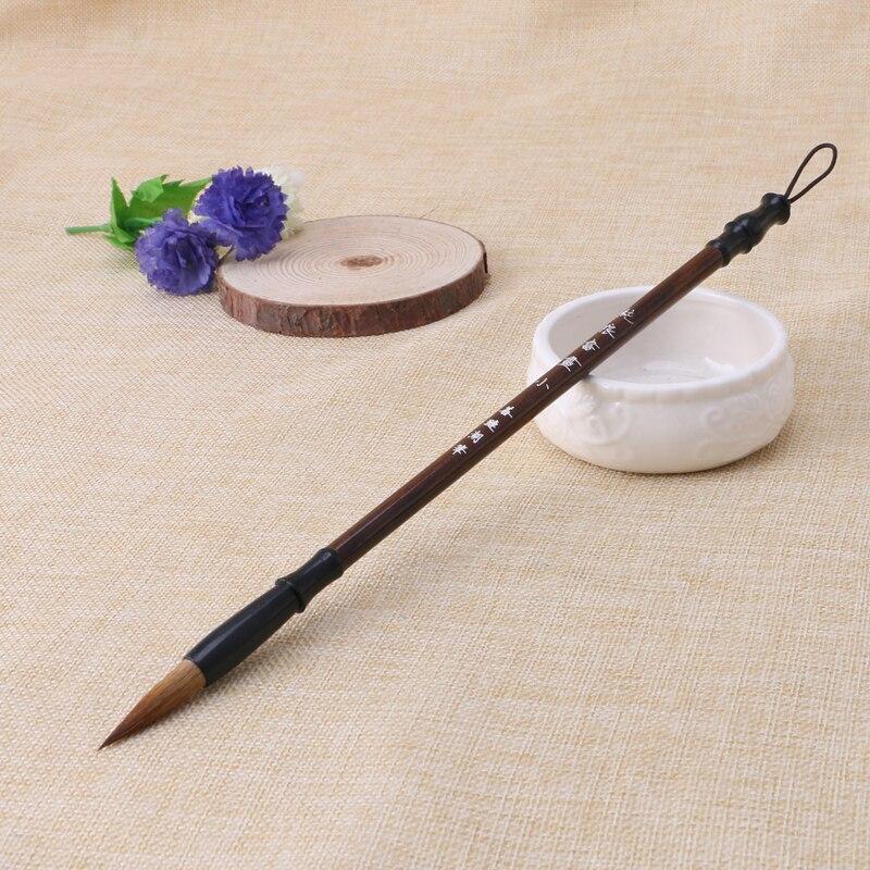 1pc chinês caligrafia escovas caneta lobo escova de escrita de cabelo punho de madeira