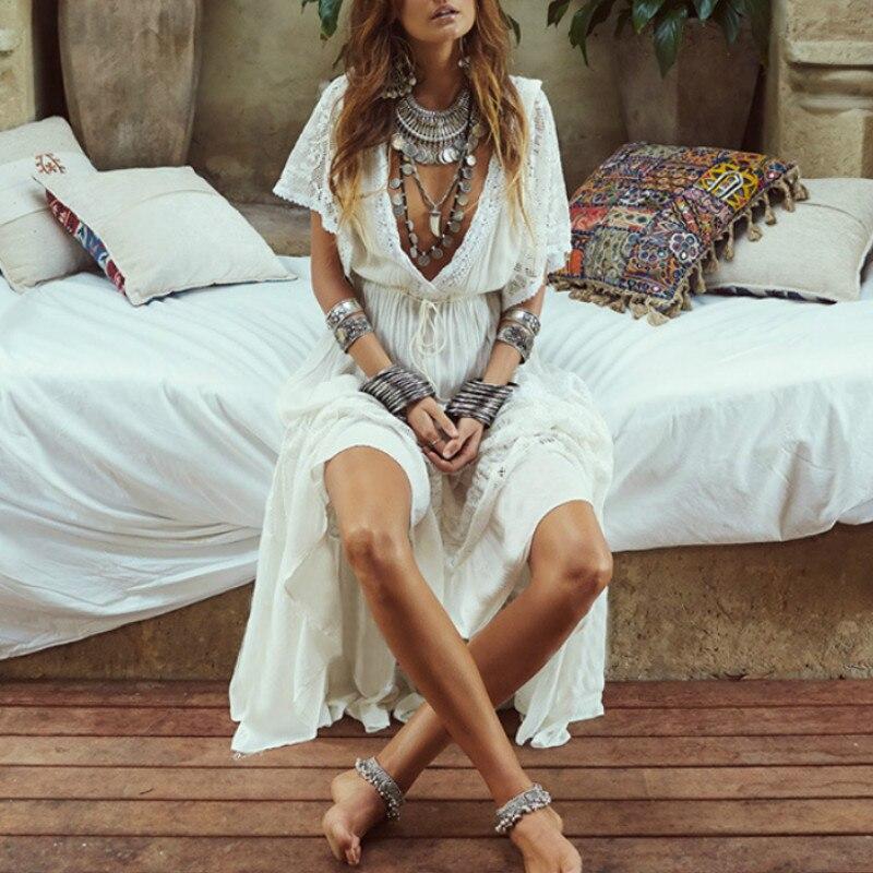 AYUALIN sexy deep v neck boho tunic robe white cotton splice lace dresses women summer cover up beach bikini coverups vestidos 1