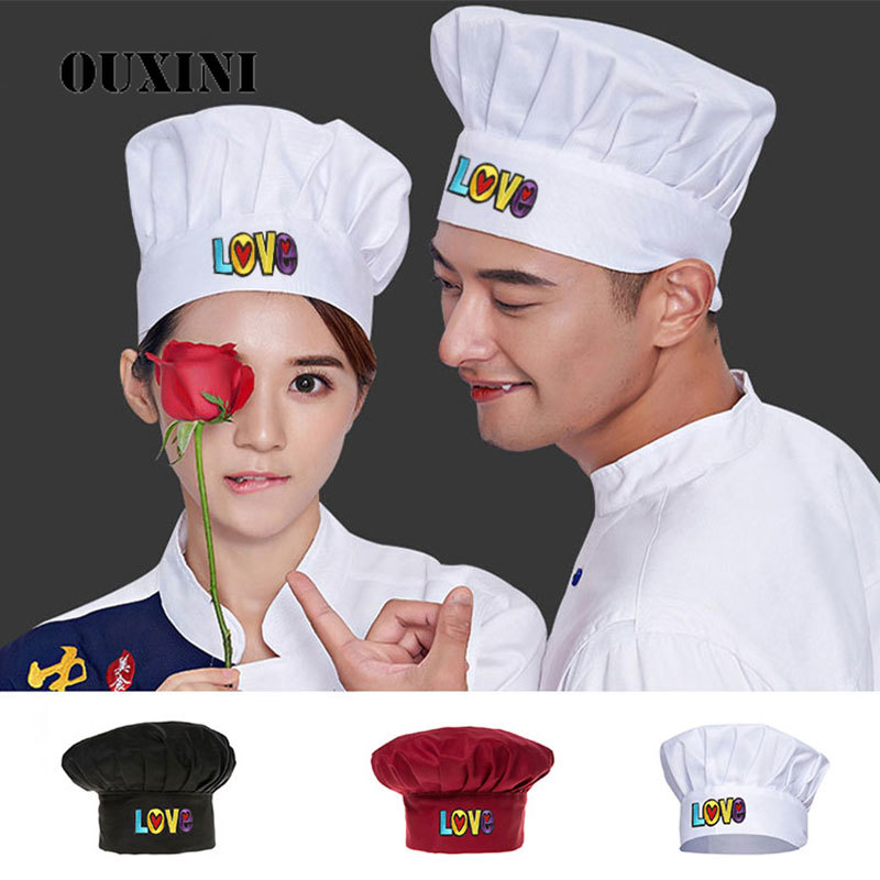 The New White Cooking Adjustable Chef Hat Women Kitchen Pleated Elastic Hat Catering  Men Cooking Cap Working Cap Cooker Hat